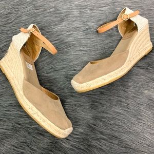 Kanna | Nude Wedge Ankle Strap Heels Size 10